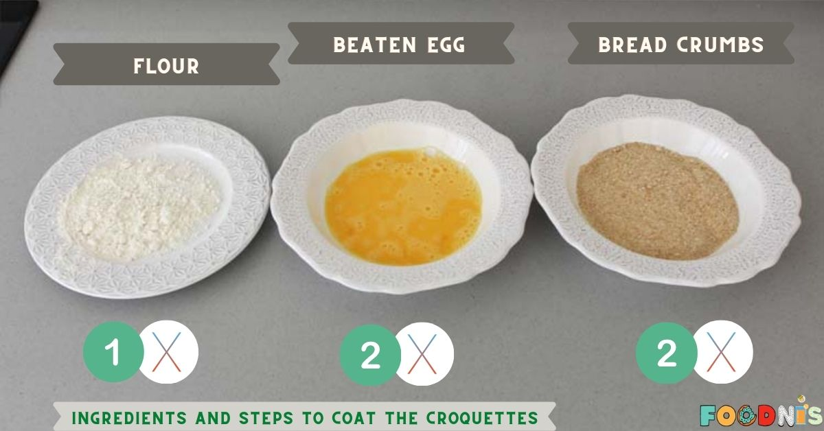 Ingredients and steps to coat the croquettes