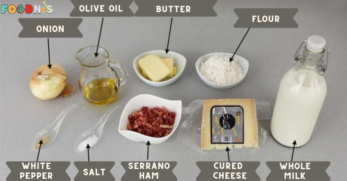 Ingredients for making cured cheese and ham croquettes
