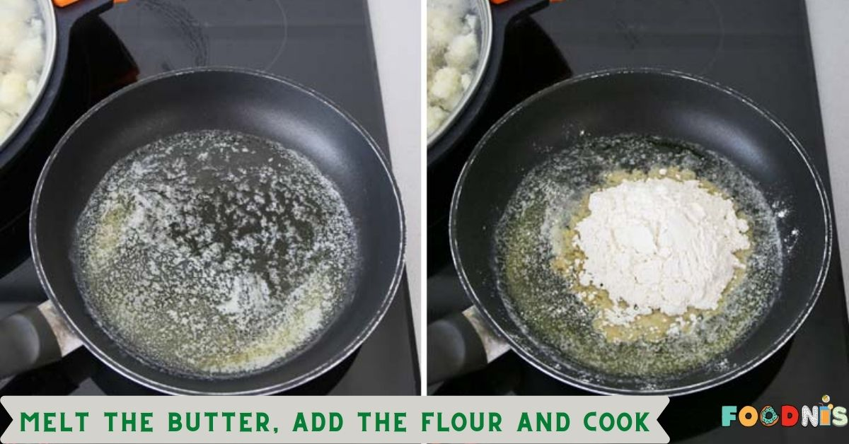 Melt the butter, add the flour and cook