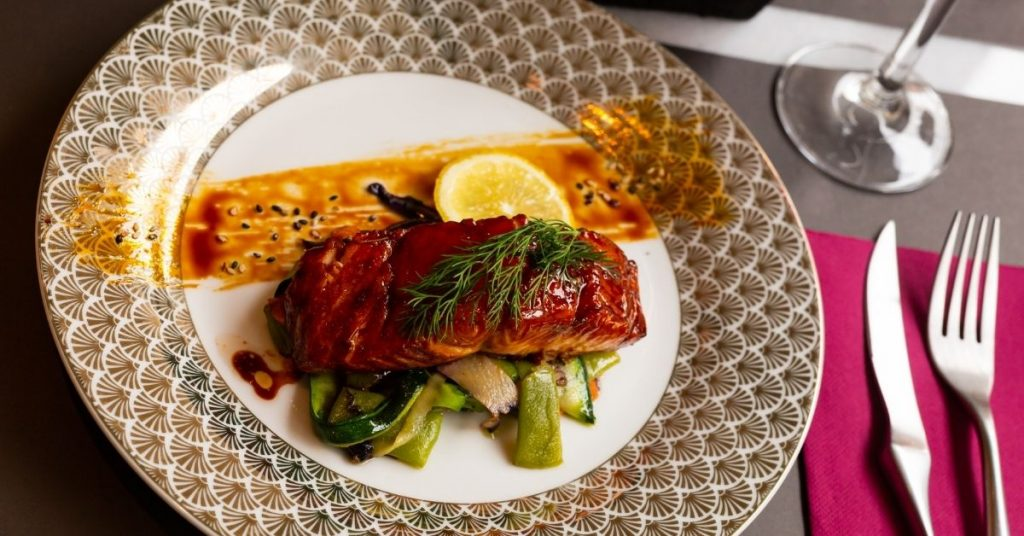 Salmon with soy sauce and honey