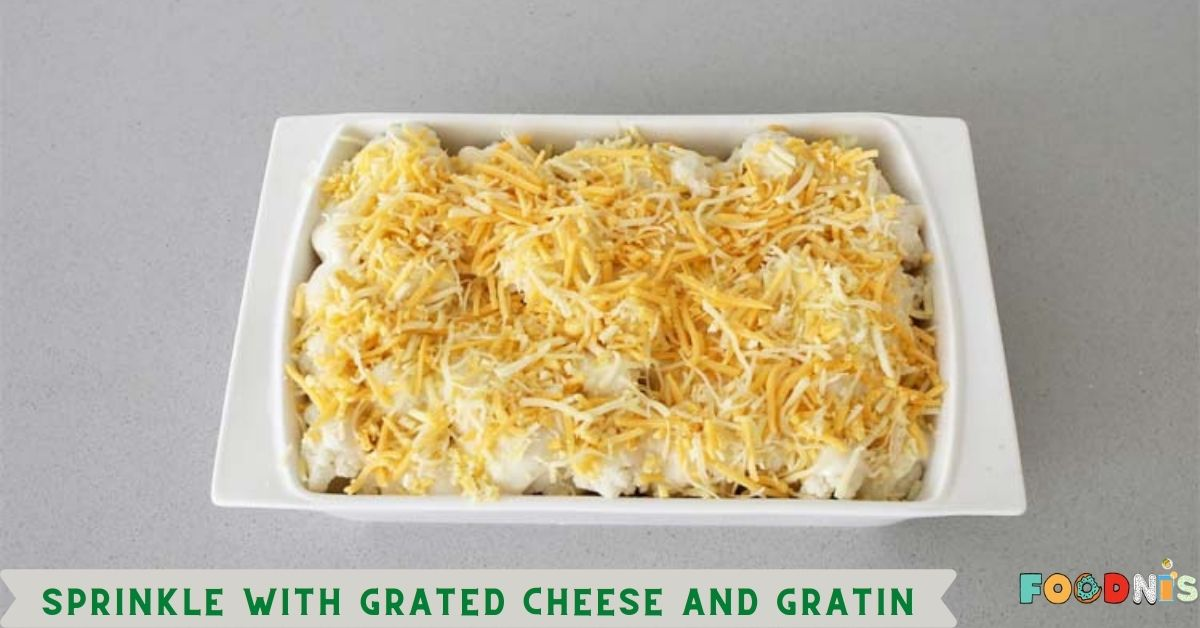 Sprinkle with grated cheese and gratin